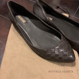 Bottega Venetia Brown Woven Leather Ballet Flats